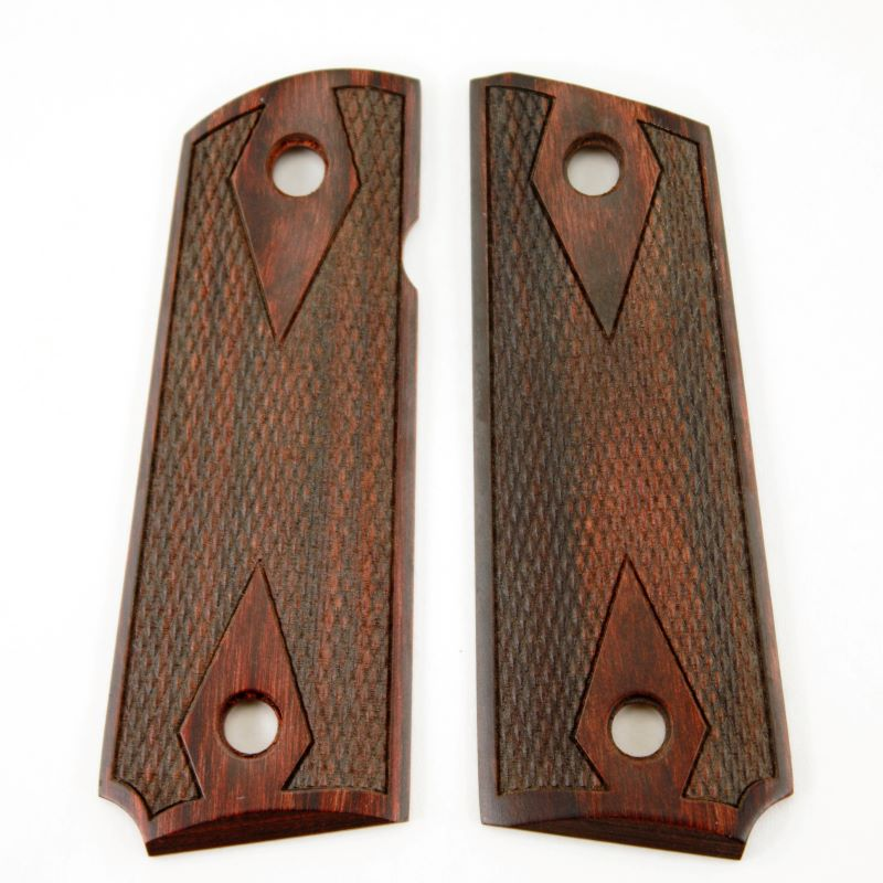 1911 Compact Grip Rosewood Slim Checkered Double Diamond