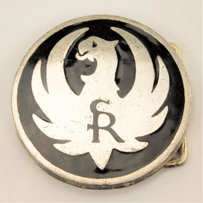 Ruger SR  Black Logo Brass Belt Buckle