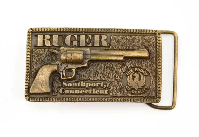 Ruger Vintage Pistol Southport CT Brass Belt Buckle