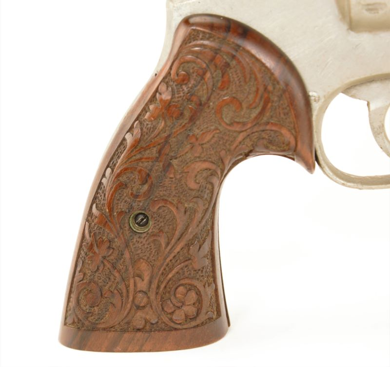 Smith and Wesson K Frame Square Butt Hand Engraved Walnut Grips