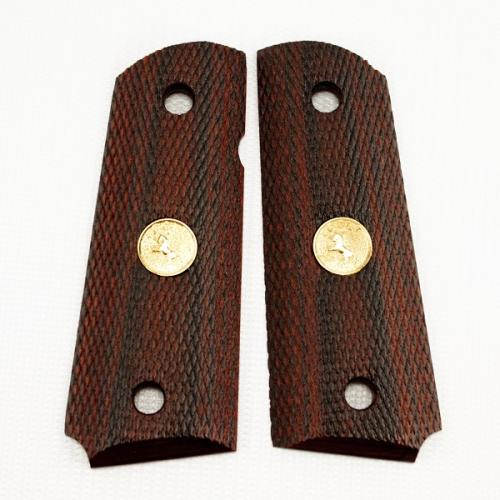 1911 Compact Grip Rosewood Laminate Checkered Colt Medallion