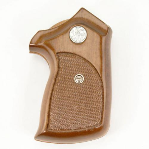Colt Detective Special Oversized Walnut Checkered Sile Grip with Medallion
