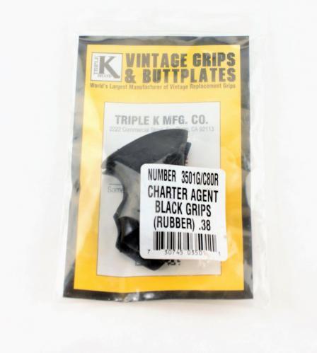 Charter Agent .38 Black Rubber Triple K Grips